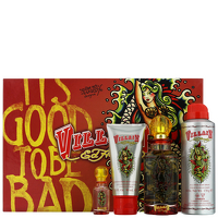 Ed Hardy Villain for Women Eau de Parfum Spray 125ml, Shimmering Body Lotion 90ml, Body Oil Spray 170g and Eau de Parfum